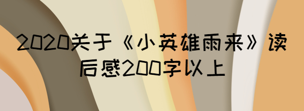 2020关于《小英雄雨来》读后感200字以上