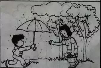 三年级看图写话下雨了
